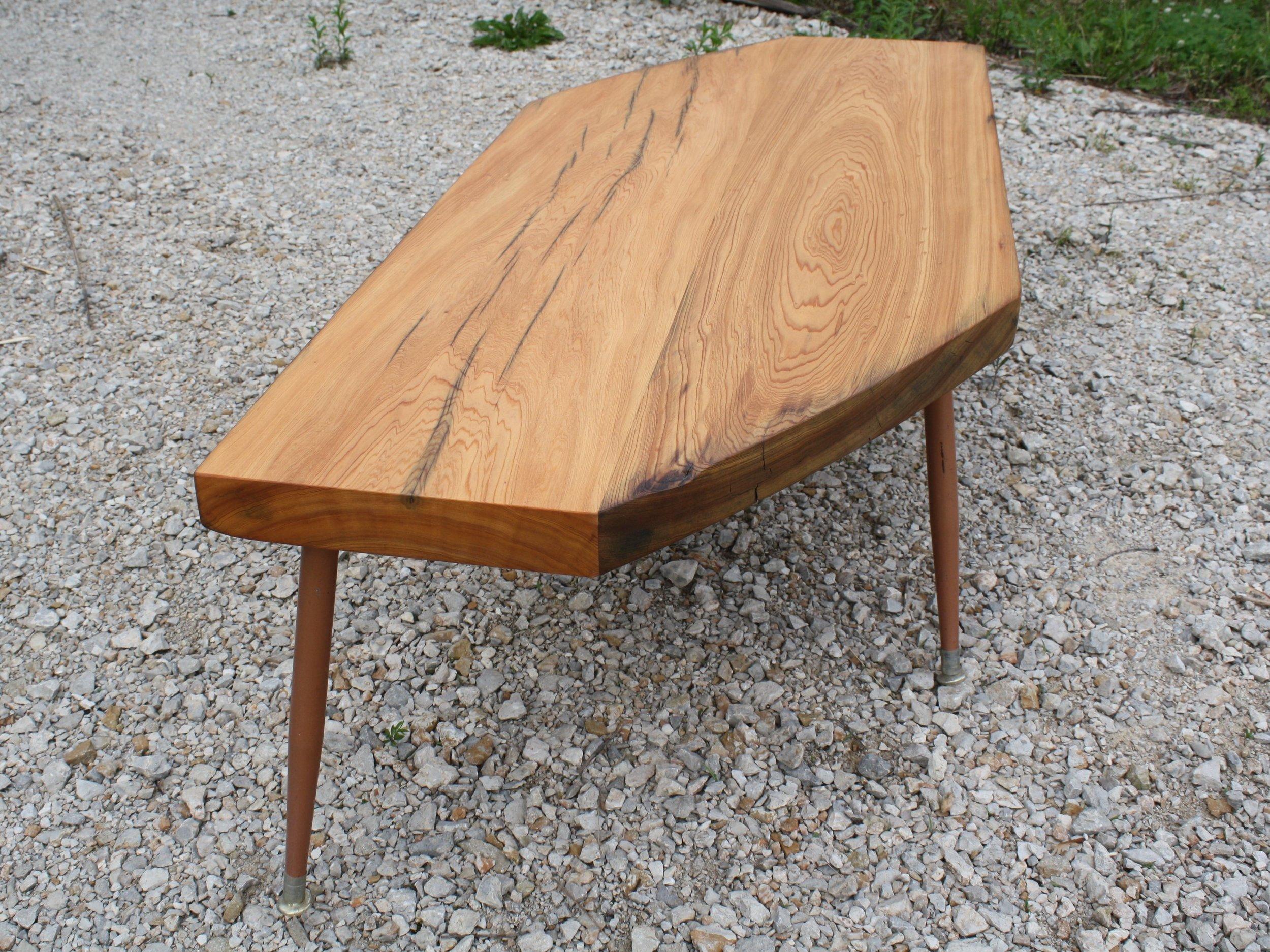 Yellow Pine Beam Coffee Table Tapered Legs.jpg