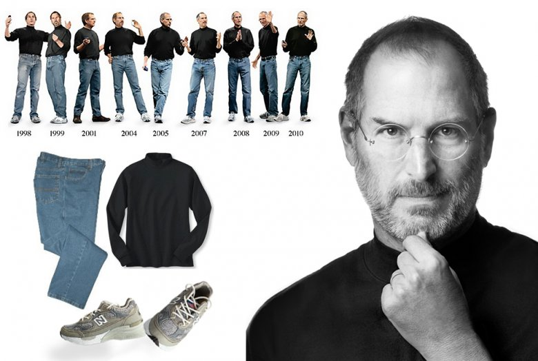 Steve Jobs, whose simple wardrobe made him a minimalist icon.  A rich minimalist, indeed.