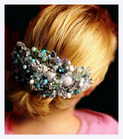 Formal head piece with milk glass and sea glass beads.