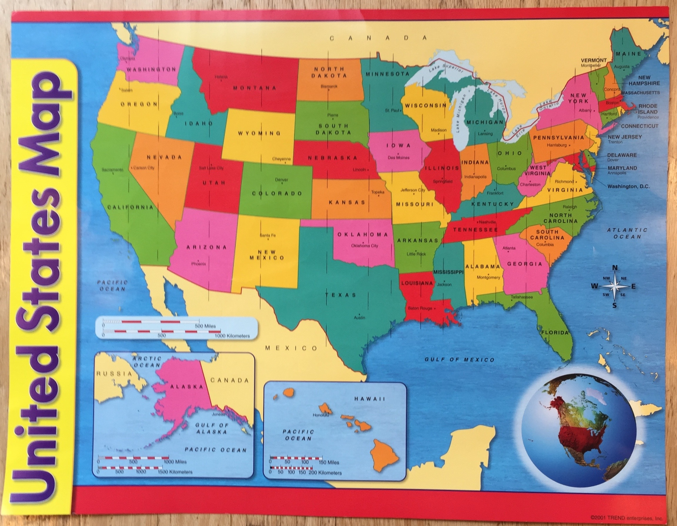 - Poster board map I used, sourced from a classroom supply store; measured 17