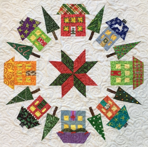 "18"" Houses block (quilted & embellished)"