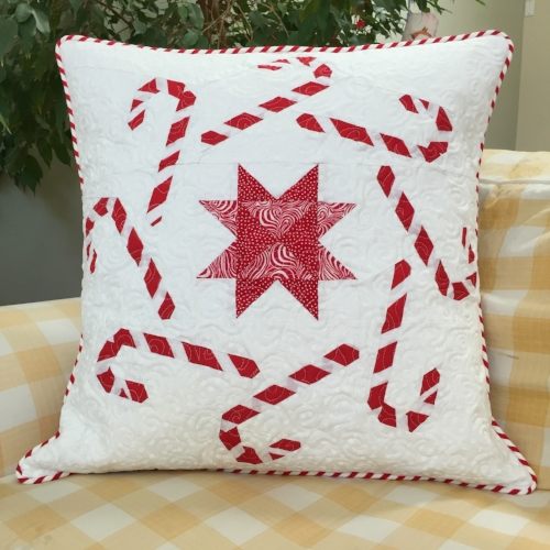 "20"" Candy Canes block quilted pillow"