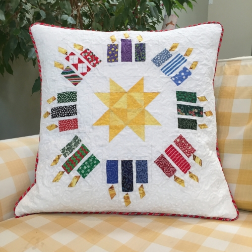 "20"" Candles block quilted pillow"