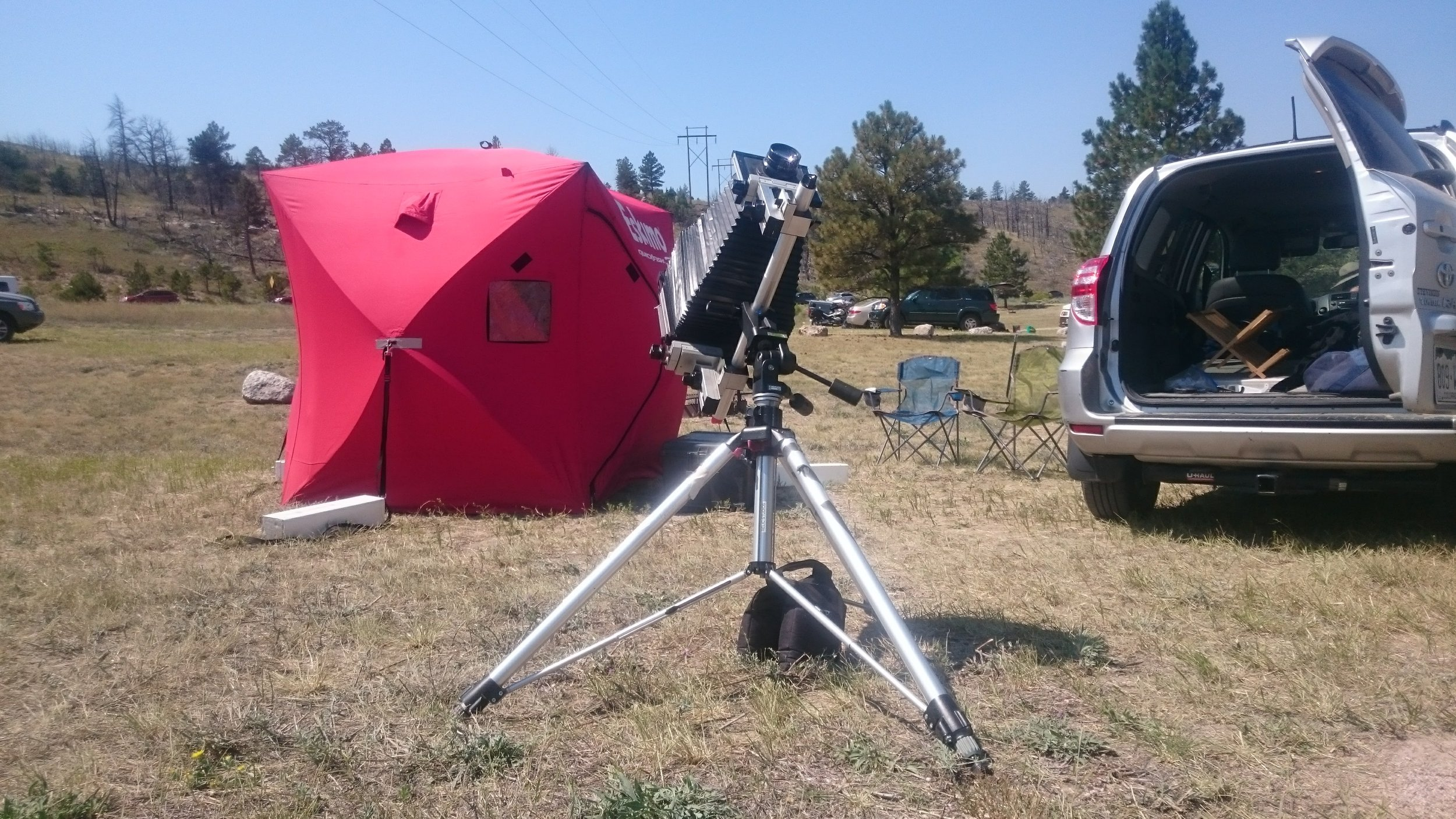 The Setup, darktent complete with four 40# weights (the long white blocks on the ground) to hold it down in the Wyoming wind and my 8x10 Sinar P view camera.