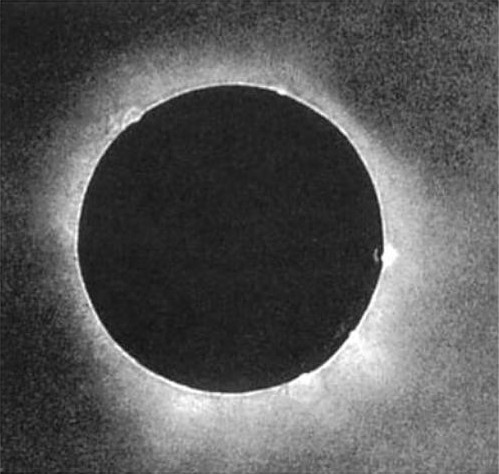First ever photo of a total solar eclipse. Julius Berkowski daguerreotype of an eclipse on July 28, 1851