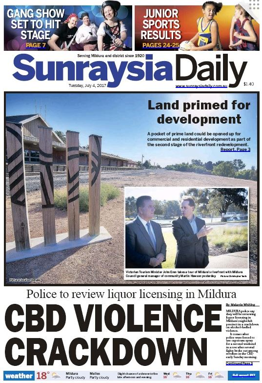 Sunraysia Daily_4 07 017_front page_Minister Eren visit.JPG