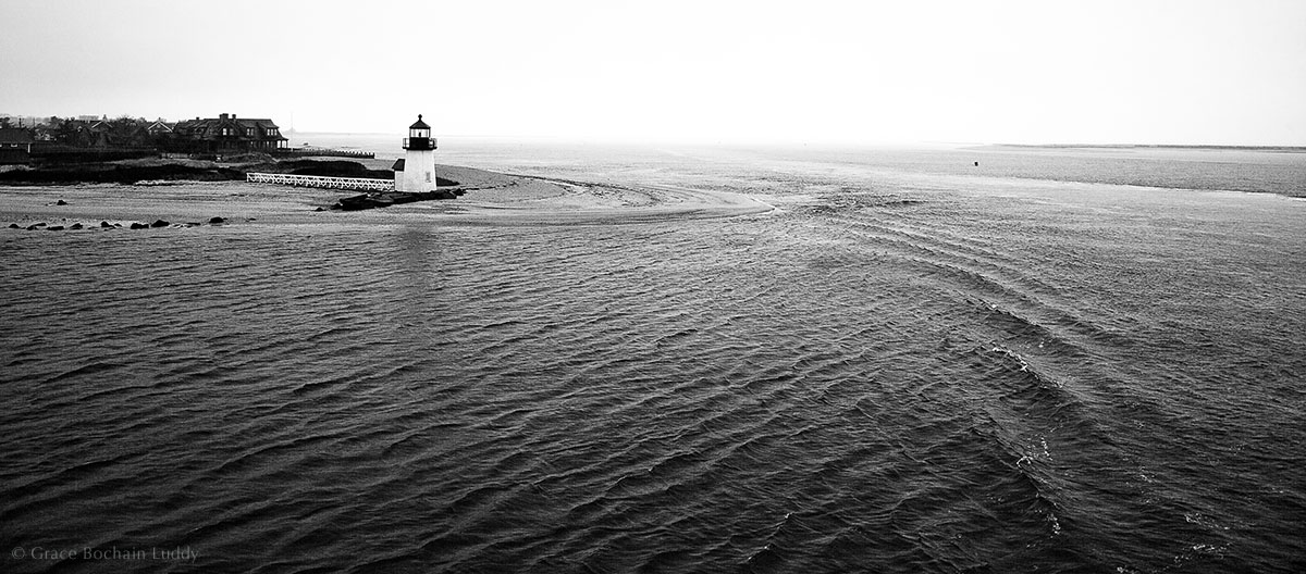 The lighthouse on the way into Nantucket Harbor.