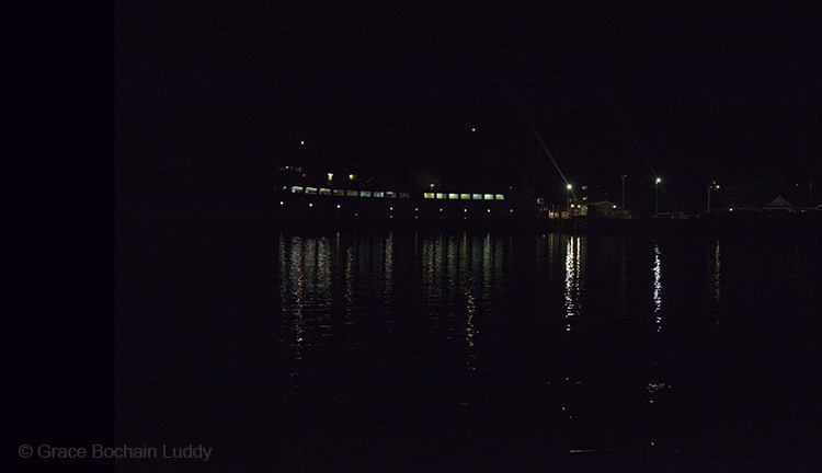 Here is the ferry, already docked, and some of the lights from Old Harbor.