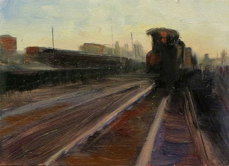 """Tracks - a Study"" - Oil on Hardboard, 7''x5''"