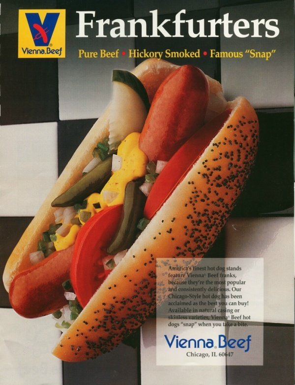 """Chicago Dog Party Pack   10 Pack of 100% PURE BEEF 7"""" Vienna Franks - $29.99   All the Chicago Fixings! Everything you need for a TRUE Chicago Dog Dragged Through the Garden.   Hot Dog Additions:   Add Chili, Slaw or Grilled Kraut - $9.99 / Quart"""