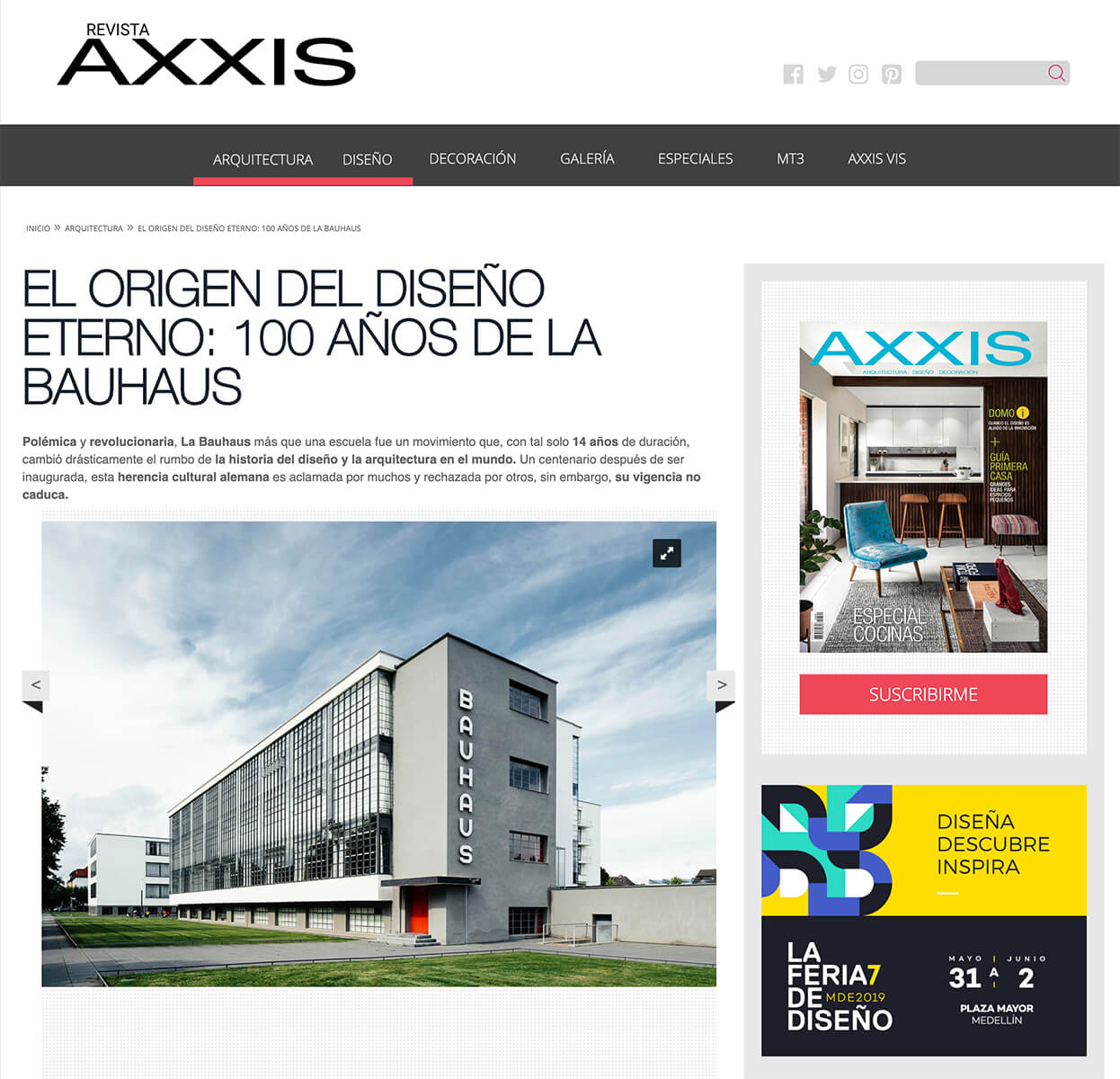 100 years of the Bauhuas - Article for AXXIS magazine