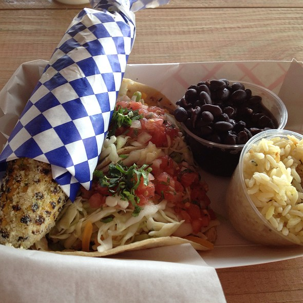 Grilled Parmesan Corn, Fish Tacos, with Rice&Beans - Taco Spot, Hollywood Beach, FL