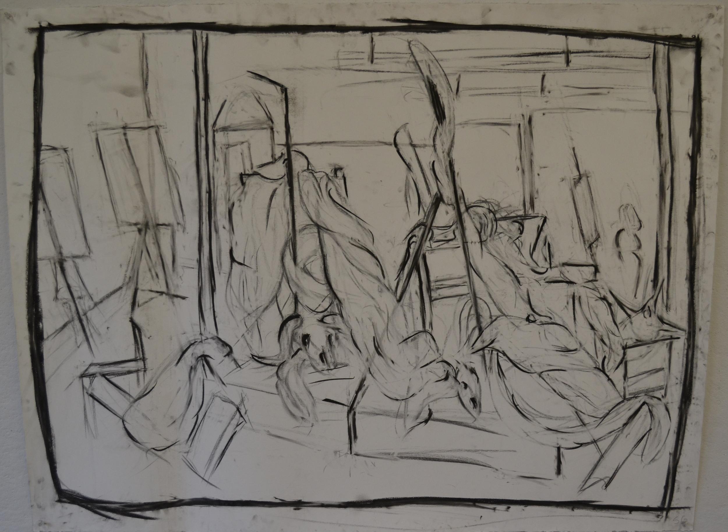 Charcoal Scene Drawing