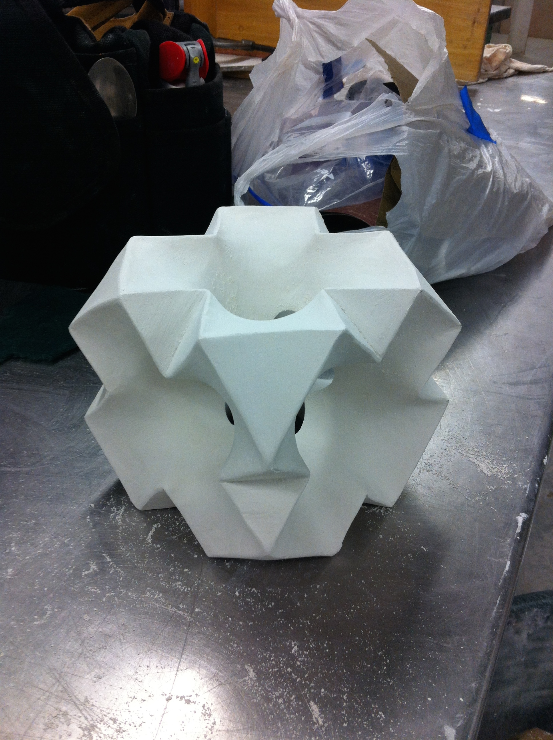 """Carved from a 6""""x6""""x6"""" plaster cube and the object for the mold"""