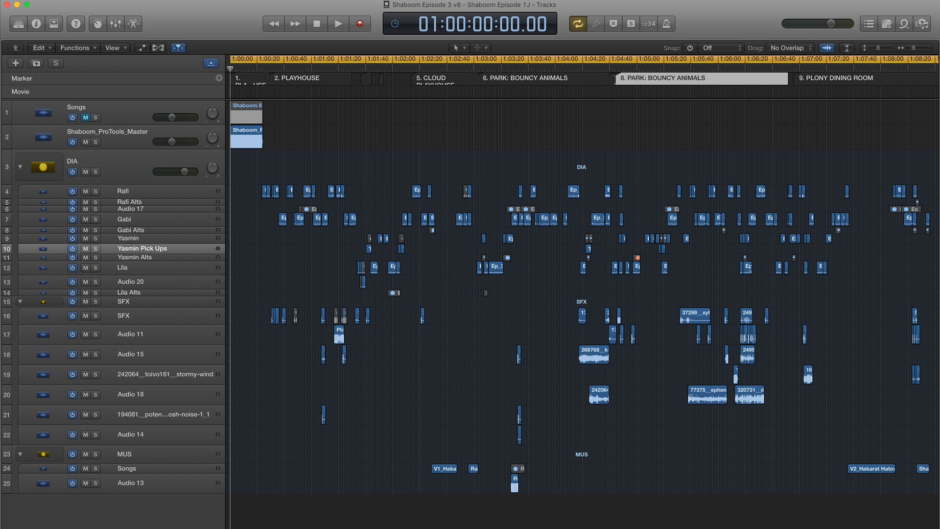 Screen Cap of Logic Pro, where I edited the actors' audio together.