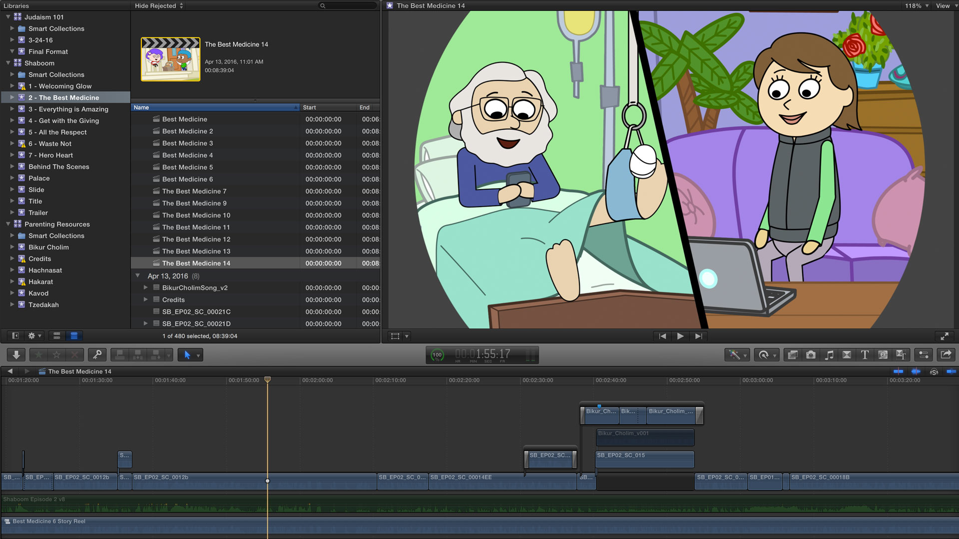 Screen Cap of Final Cut Pro X, where I edited the story reels and final animated scenes together