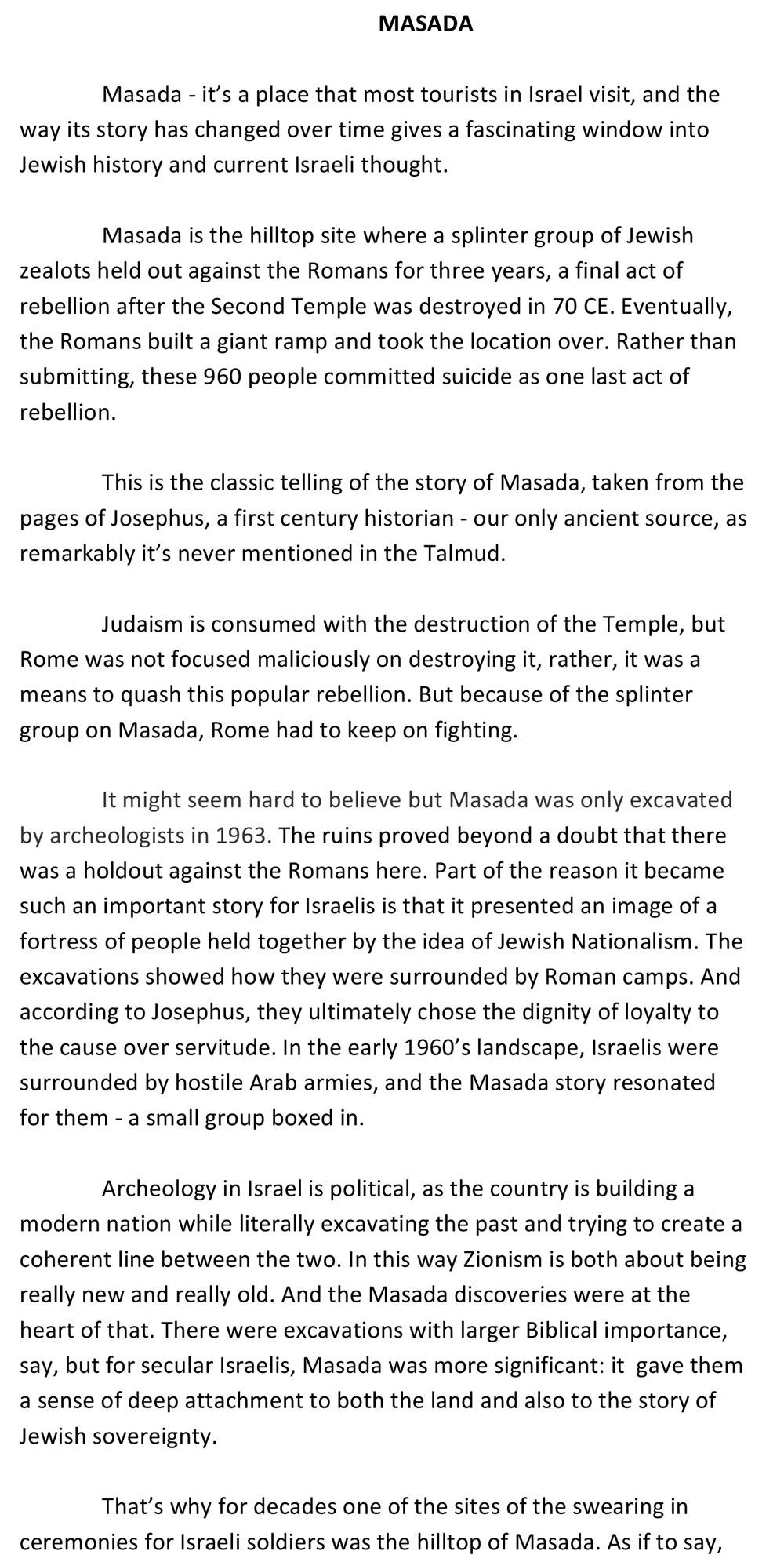 Masada Script, Page 1