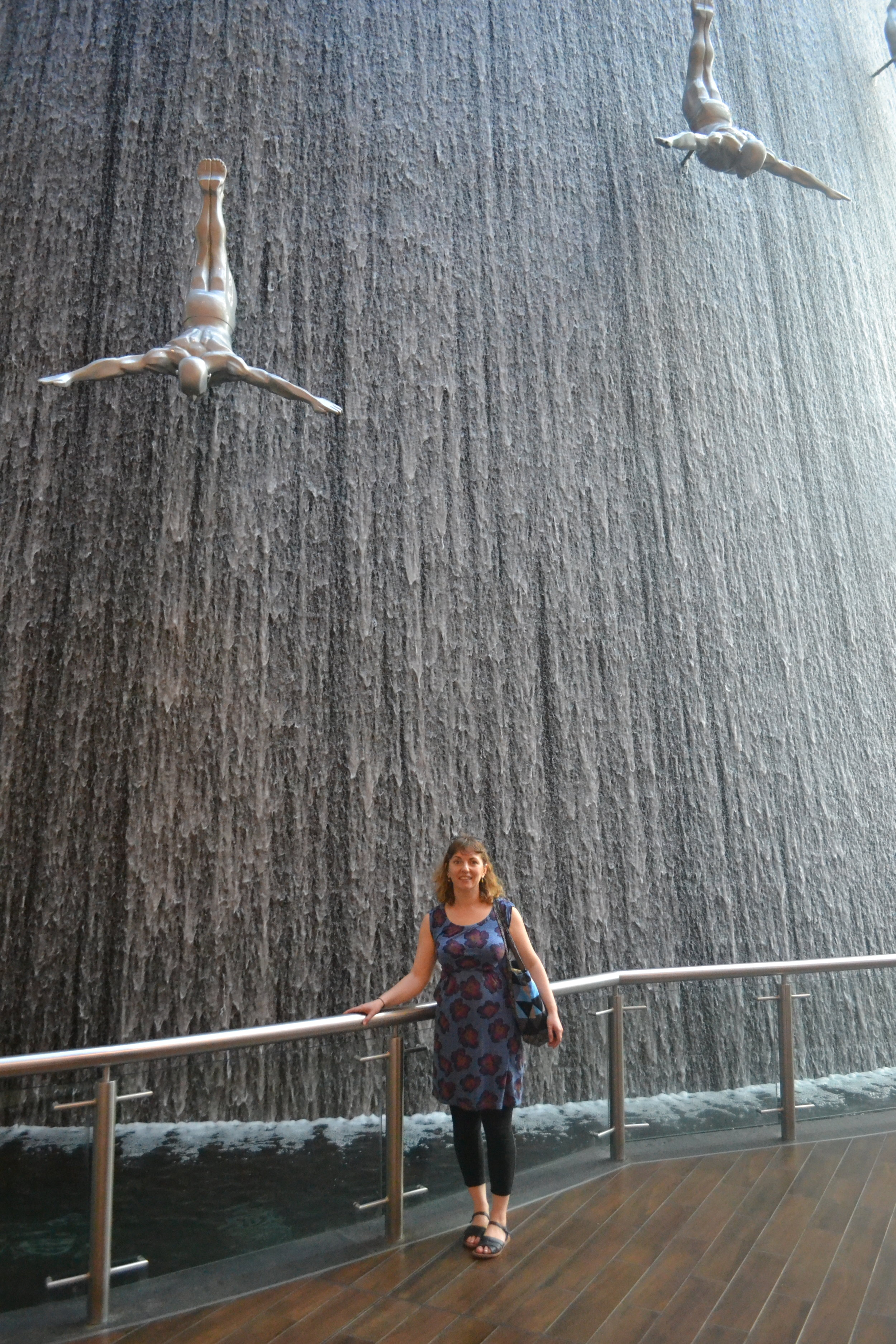 A waterfall inside the Dubai Mall