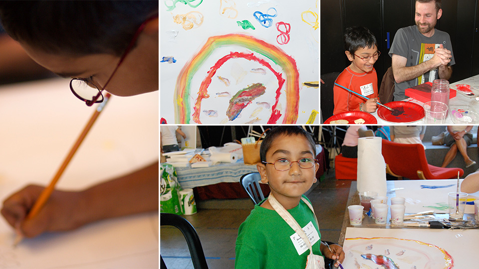 (left) Amaey creating art in 2009 at our very first art workshop in Pixar's big art room. (right) With Artist Alex Puvilland of DreamWorks in 2010.