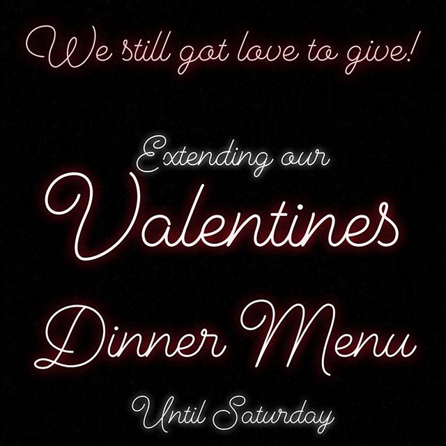 Didn't get a chance to take your hunny out last night?  We are extending our Valentines Dinner Special until Saturday!  Three course dinner plus dessert, $30 per person  Includes:  appetizer sampler platter,  choice of salad (cesare or mista), choice of main (Margherita Pizza, Brooklyn Pizza, Fungo Bianco Pizza, Rose Gnocchi, Penne Pesto, Spaghetti Alla Carbonara, or Lemon Chicken), and a Nutella and Strawberry Pizza for dessert!  Call to reserve your table 204.414.6305