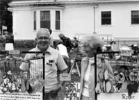 Roger Blood selling nature mobiles at Arts & Artisans Fair, 1979.