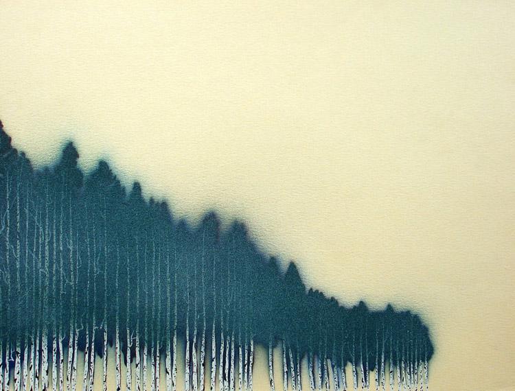 "Uruguayan Windbreak 1 / spray paint and acrylic on paper / 8.5"" x 11"" / 2005"