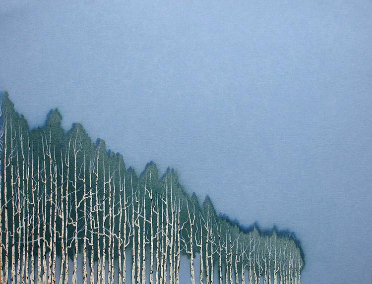 "Uruguayan Windbreak 3 / spray paint and acrylic on paper / 8.5"" x 11"" / 2005"