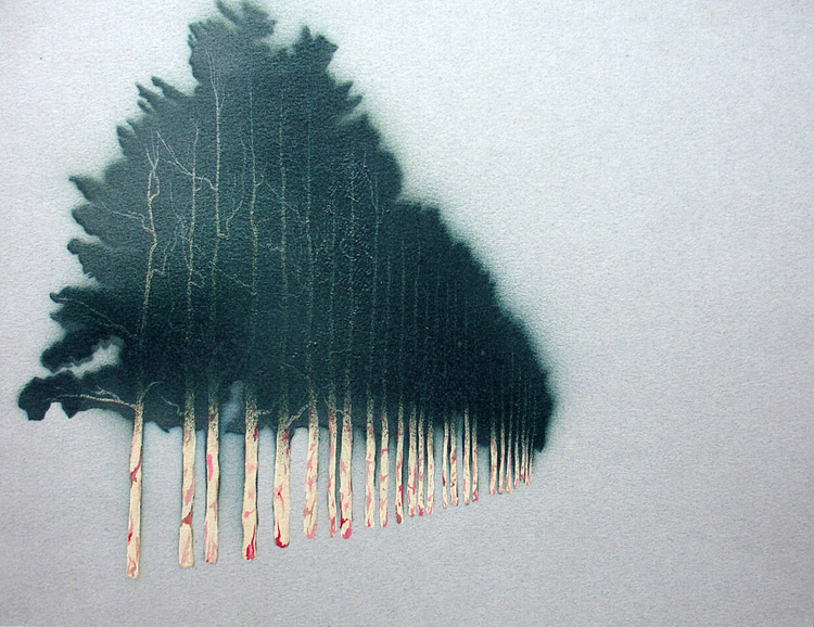 "Uruguayan Windbreak 4 / spray paint and acrylic on paper / 8.5"" x 11"" / 2005"