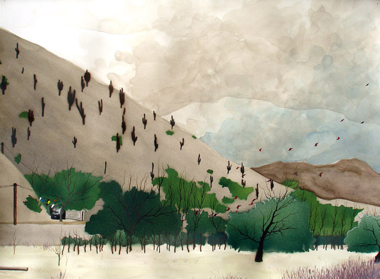 """Tilcaran Orchard / spray paint and acrylic on paper / 22"""" x 30"""" / 2006"""