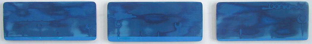 """Jai-Alai Triptych / acrylic on baltic birch / 3 @ 6.5"""" x 15"""" / 2004"""