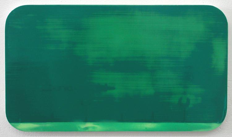 "Dania Jai-Alai 4 / acrylic on baltic birch / 8.5"" x 15.5"" / 2004"