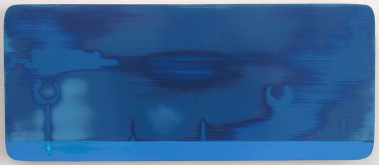 """Jai-Alai Triptych (detail) / acrylic on baltic birch / 6.5"""" x 15"""" / 2004"""