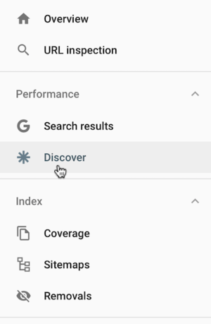 Screen shot of Discover in Google Search Console.