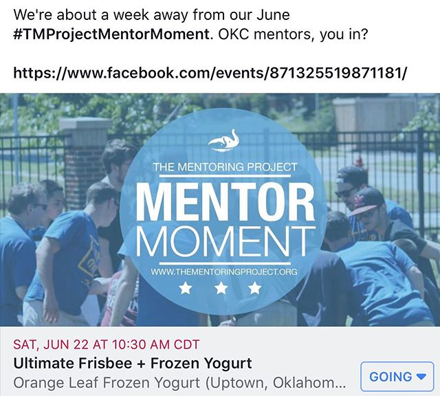 Just a few more days until our June 2019 #TMProjectMentorMoment! #OKC mentors, you in? #UltimateFrisbee + @orangeleafuptown  #MentorMoment #Mentor #TMP #TMProject #TMPOKC #EveryChildDeservesAMentor