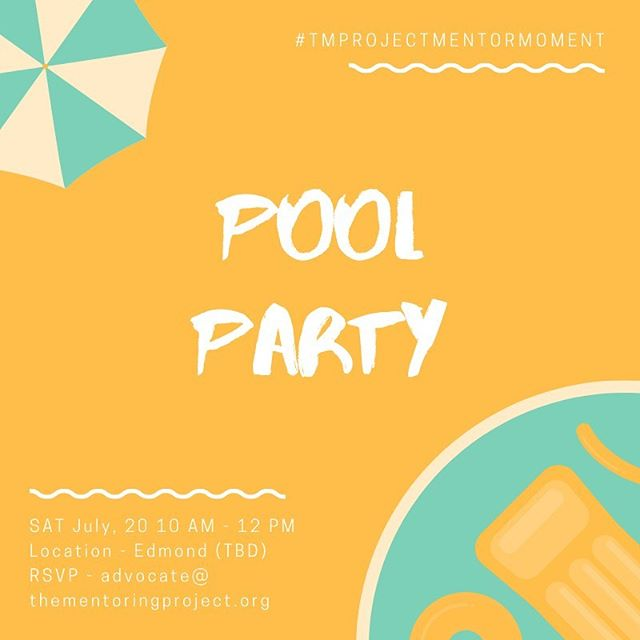 OKC mentors - let's cool off in the pool this summer! Join us for our July 2019 #TMProjectMentorMoment as we host a private pool party. #MentorMoment #Mentor #TMProject #TMP #TMPOKC #EveryChildDeservesAMentor #Summer #Swimming  Disclaimer - in order to participate you must have a TMProject waiver on file and be a part of The Mentoring Project's programs or network of Mentor Link organizations. Please contact advocate@thementoringproject.org if you have questions about getting involved in TMProject's programming.