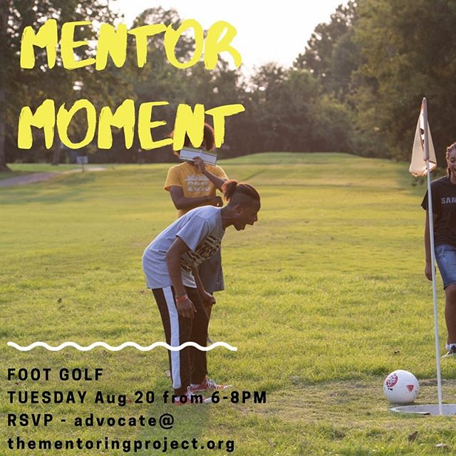 Ever heard of Footgolf? It's like golf, with your foot (and a soccer ball)! Join us at Hidden Creek Golf Course in Midwest City at 6pm on August 20 for a round consisting of 9 holes. Get in on the action with an email to advocate@thementoringproject.org.