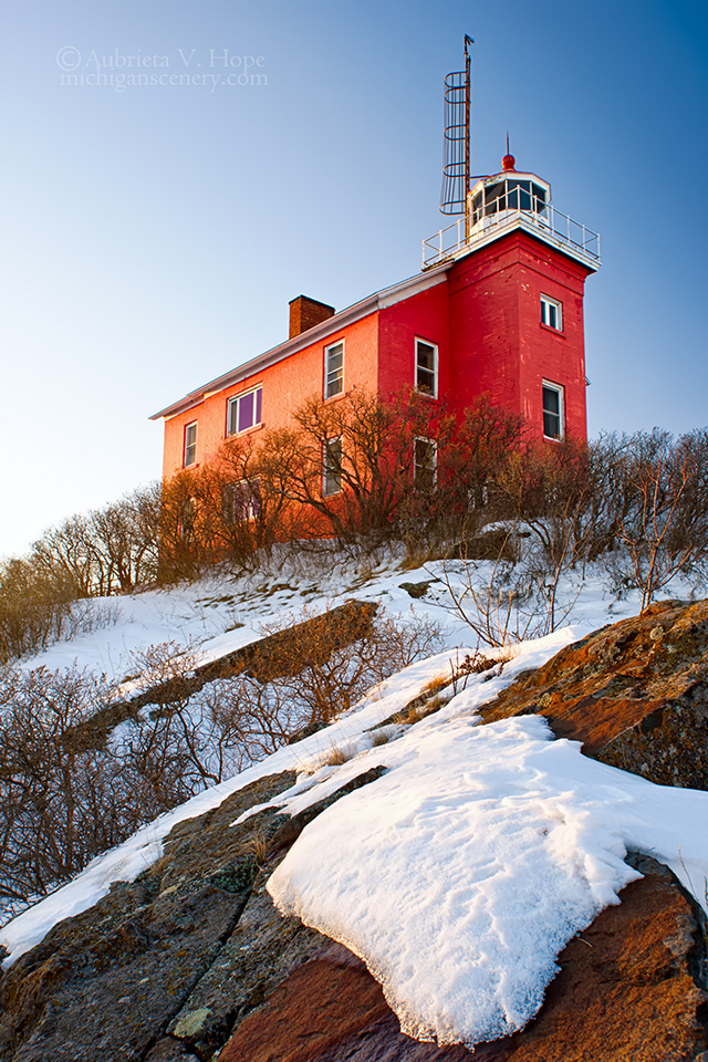 MI15-0614-4725 Marquette Harbor Lighthouse in Winter by Aubrieta V Hope Michigan Scenery.jpg