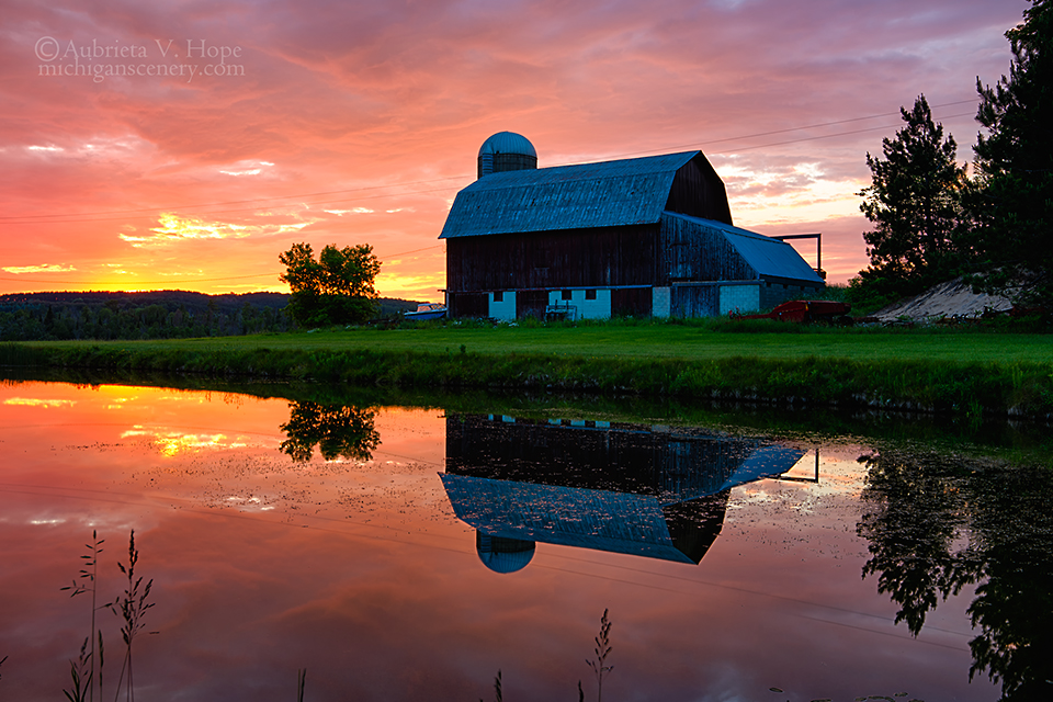 MI15-0705-9944 Red Barn at Twilight Leelanau County by Aubrieta V Hope Michigan Scenery.jpg