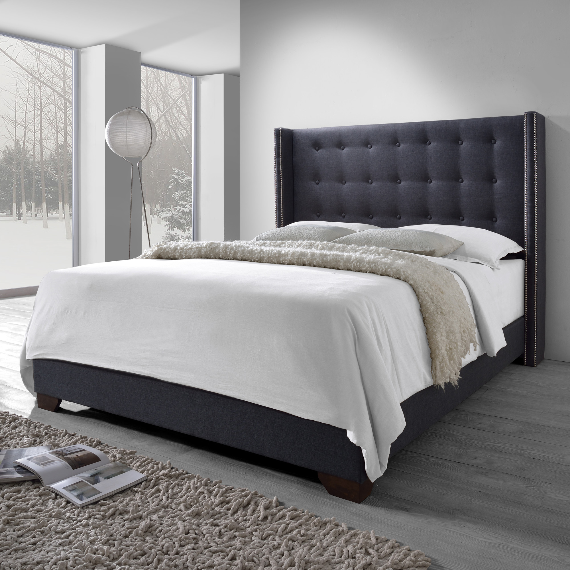 Gray - Upholstered Tufted Wingback Bed - 2 Day shipping - King  $699