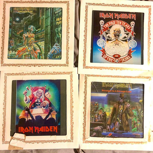 Remember carnivals from the 80's & early 90's when you could win glass plate metal bands' posters & album covers? Wasn't it usually throwing darts at balloons? Just found some of my faves in a box. 😉🤘🏻#uptheirons #ironmaiden #metalmemorabilia #metalmemories #thegoodolddays