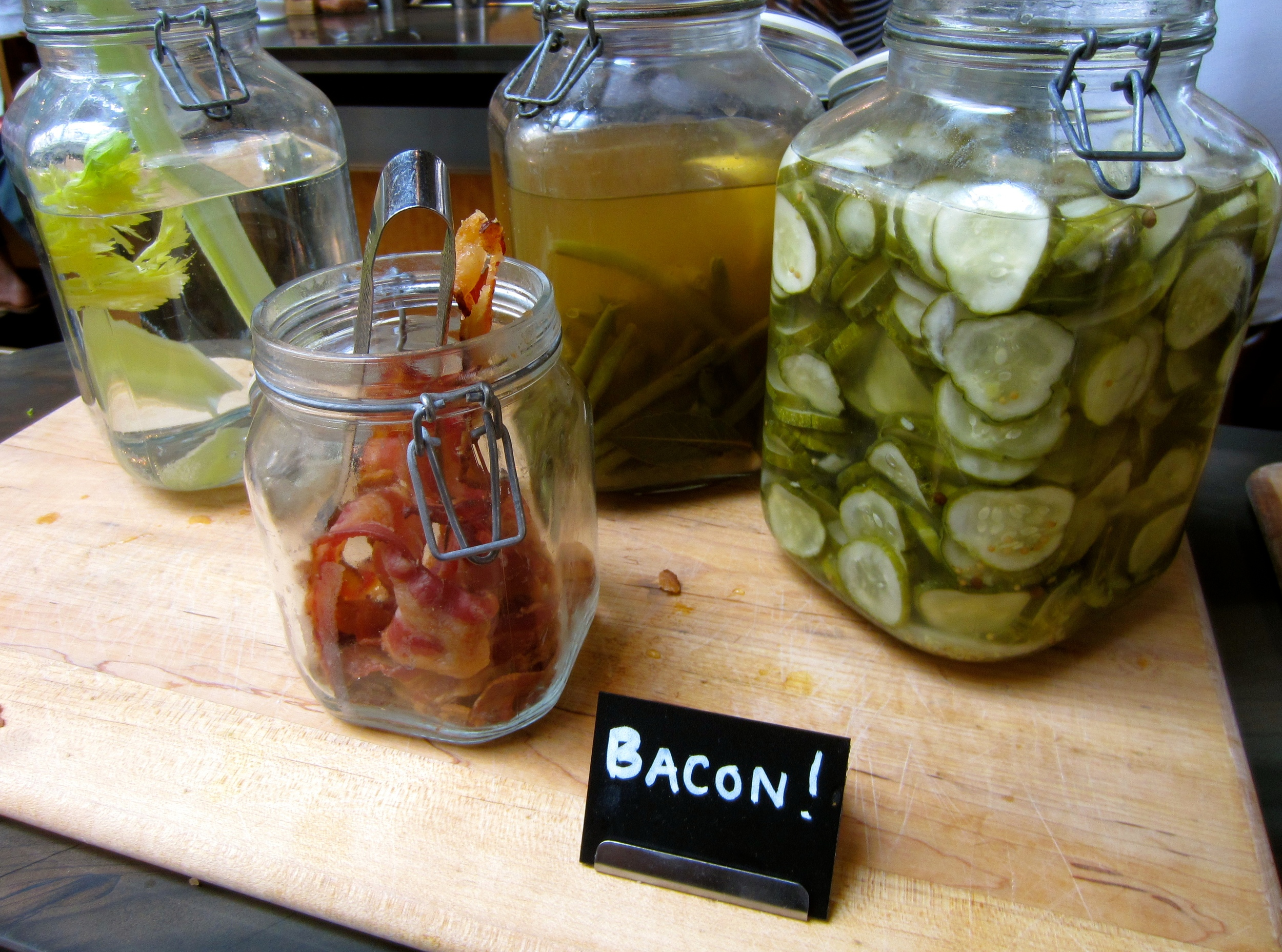 celery, pickled green beans, dill pickles and BACON!