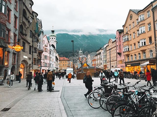 Every walk through Innsbruck, a quaint town nestled in the mountains in Austria, is full of eye-catching scenes. Even on the cloudiest day, the views are still amazing.