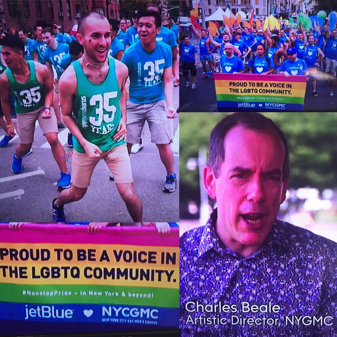 New York City Pride 2017. We sing and dance in the March, and I appear on TV advocating for LGBTQ equality, in a flowery shirt.