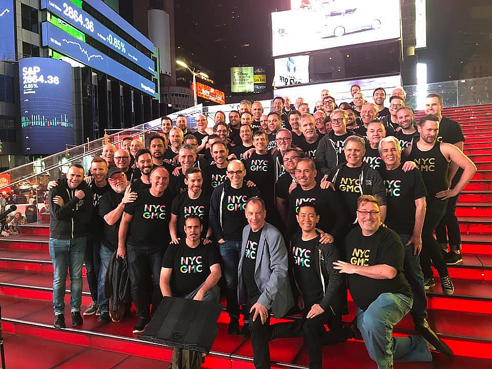 Last night, New York City Gay Men's Chorus were in Times Square on the Red Steps, filming a music video of a song from our joint commission with GMCLA 'Quiet No More', celebrating the 50th anniverary of the Stonewall Uprising.