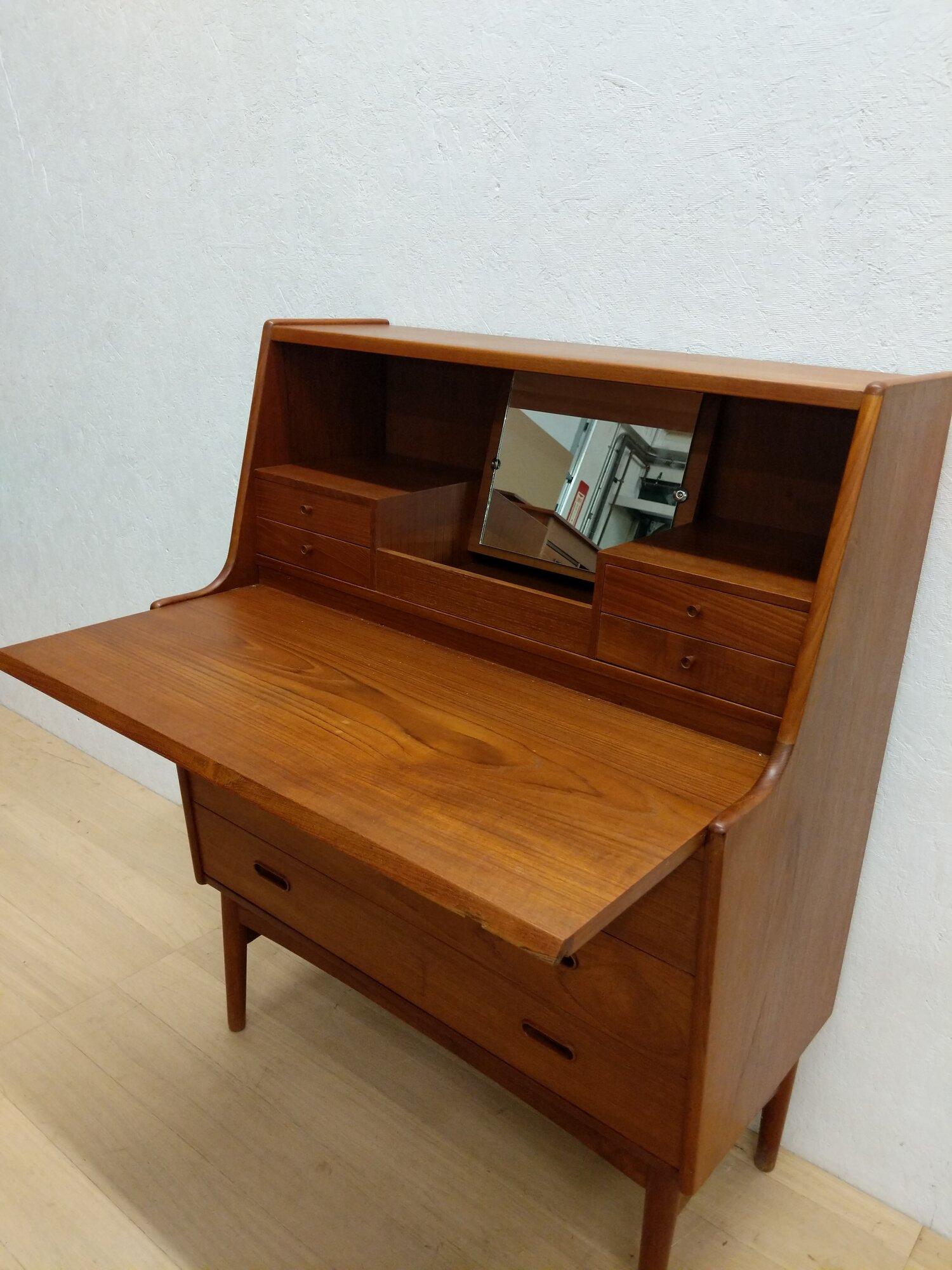 Vintage Danish Modern Teak Secretary Desk  Vanity