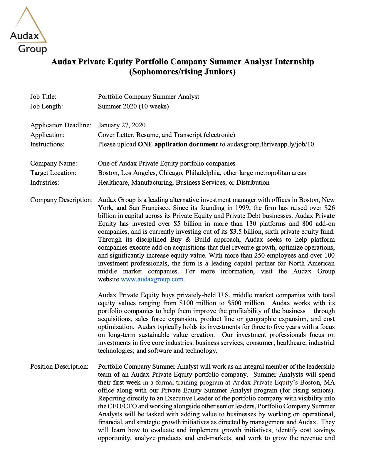 Audax Private Equity Sophomore Internship — Stanford Women ...
