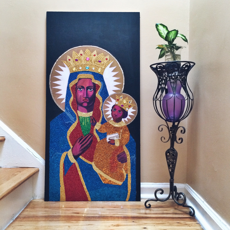 sibyl #1 / ezili danto, acrylic, sequins and faceted jewels on wood,2014  48 x 24 x 1