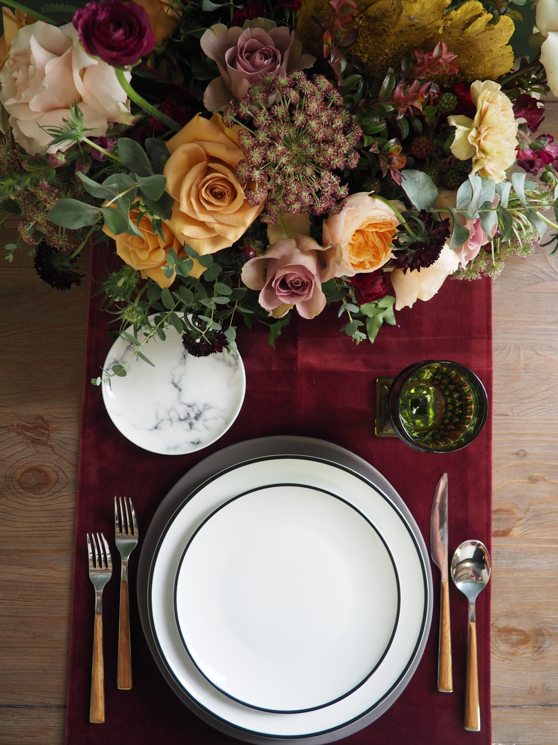 Eclectic Emerald Goblet, Wood Flatware, Slate Grey Charger, Aura White & Black Dinner and Salad Plates, Marble B&B