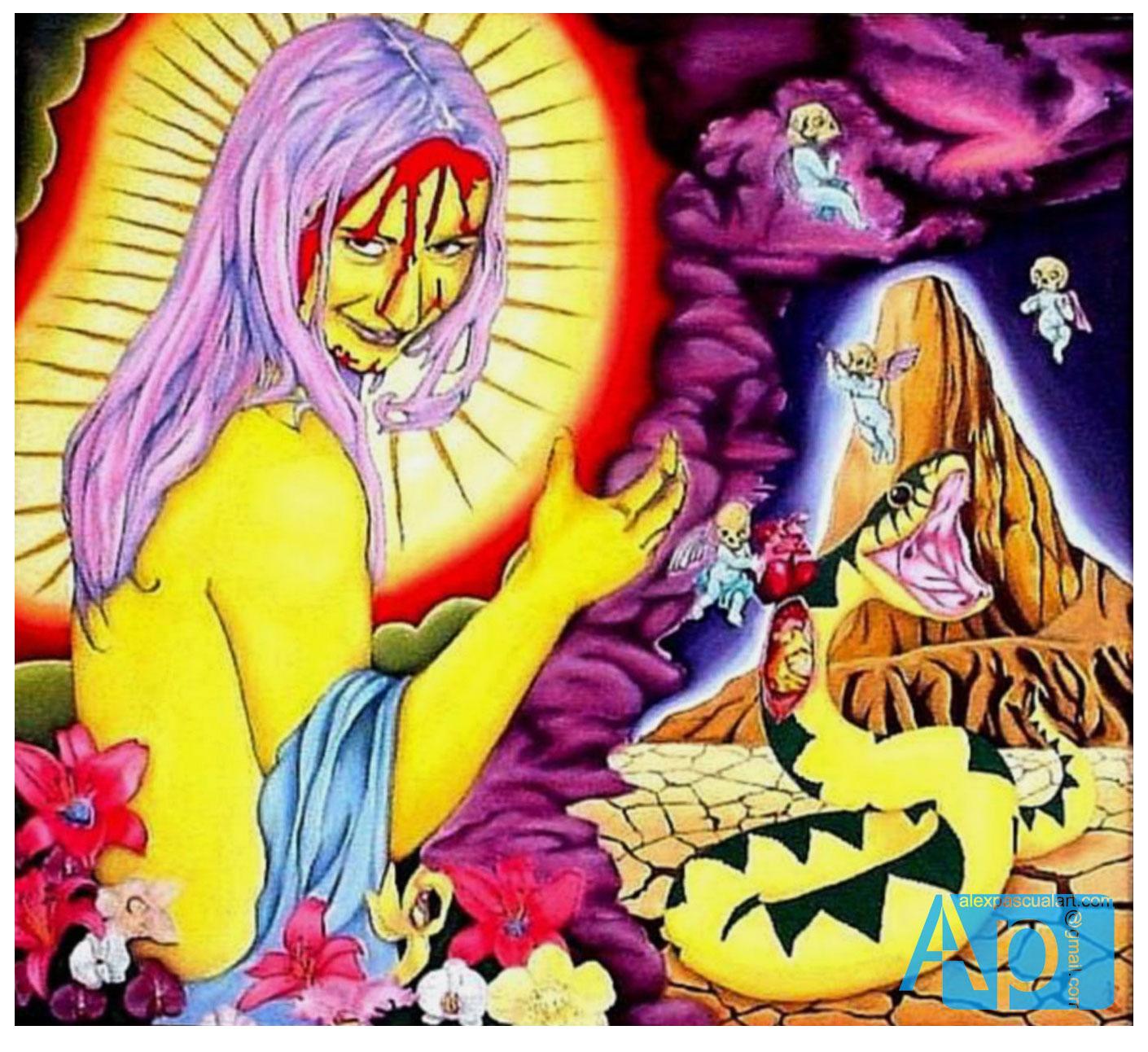 """""""Isang magandang senyora, libot na libot ng espada - A beautiful woman surrounded by swords""""  - oil on canvas"""