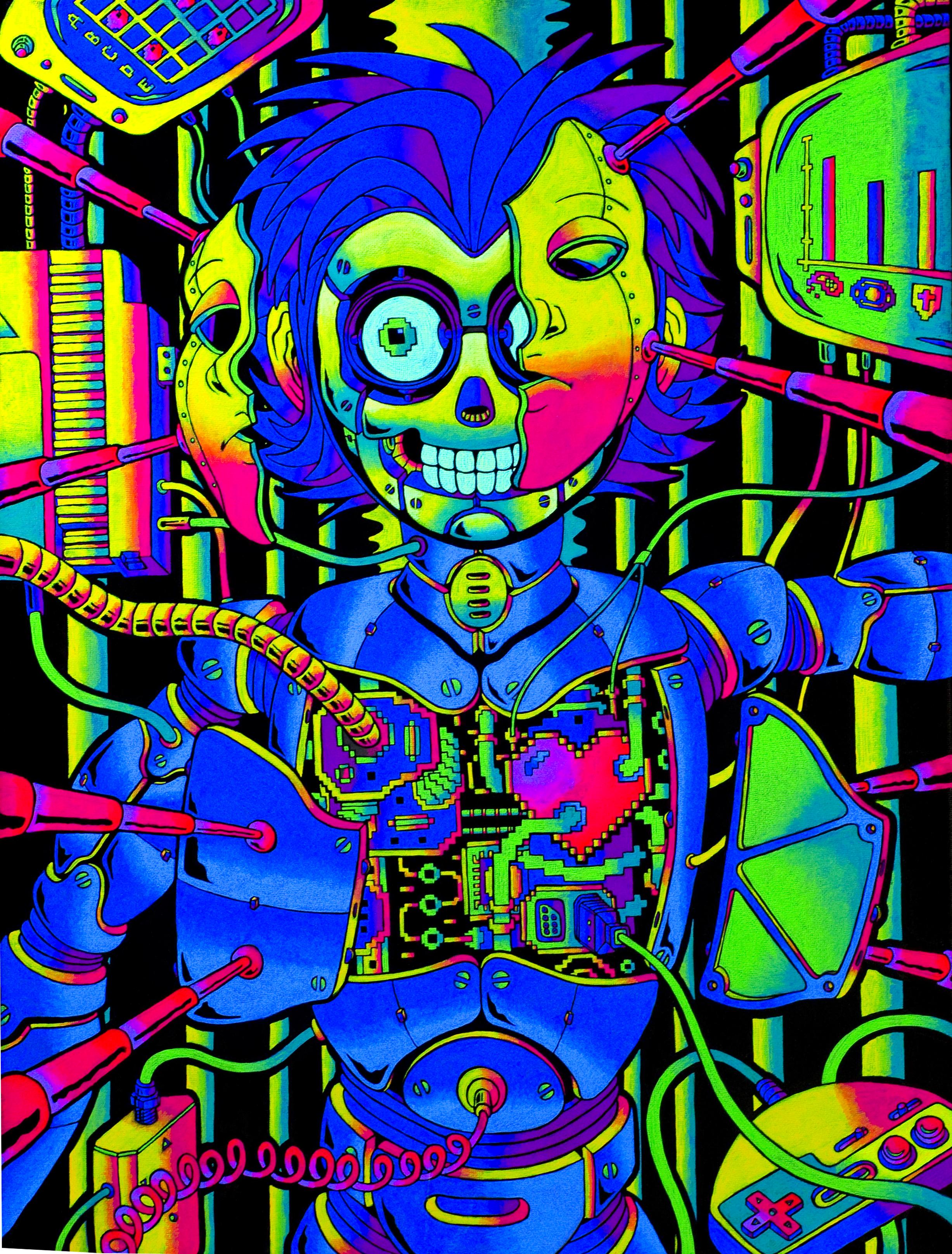"metal_BOY  - 16"" x 24"" fluorescent acrylic on canvas w/ blacklight"